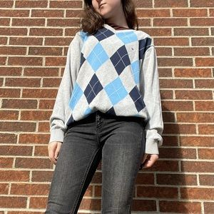 Blue Argyle Tommy Hilfiger Sweater